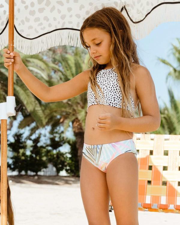 0 Girls' Tropic Party Reversible High Neck Two-piece Bikini Set Grey ABGX200156 Billabong