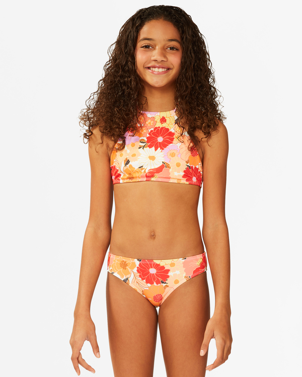 0 Girls' So Groovy High Neck Bikini Set Grey ABGX200175 Billabong