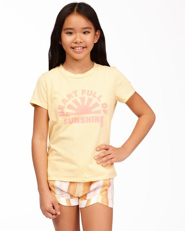 0 Girls' Heart Of Sunshine T-Shirt Yellow ABGZT00164 Billabong