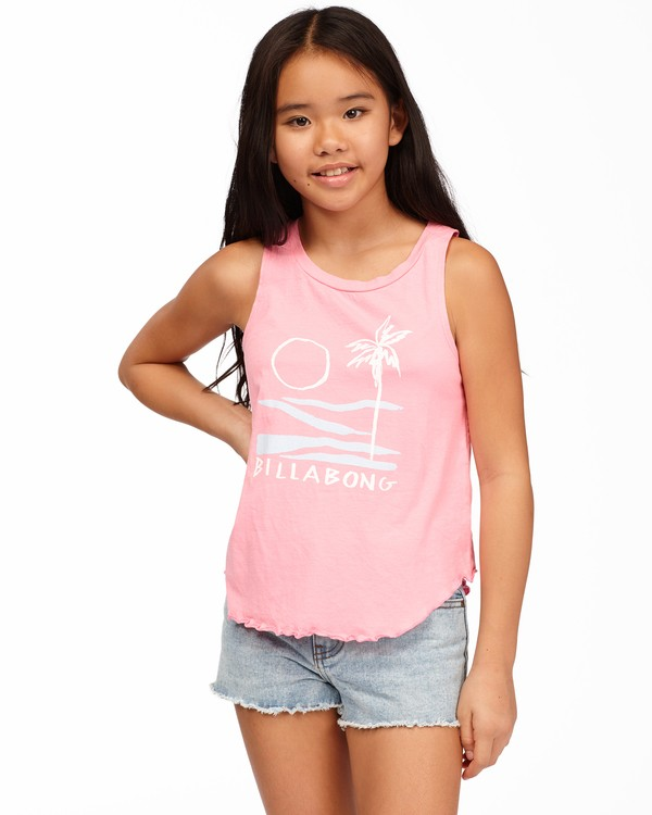 0 Girls' Surf Patrol Tank Top Pink ABGZT00171 Billabong