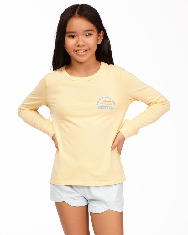 0 Girls' California Love Long Sleeve T-Shirt Yellow ABGZT00174 Billabong