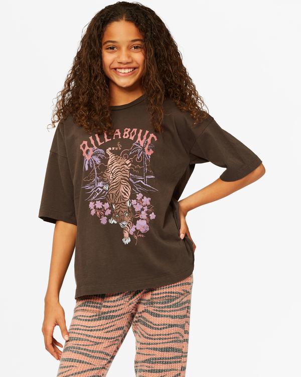 0 Girls' Tiger Time T-Shirt Black ABGZT00186 Billabong