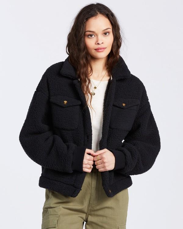 0 Grafton Button Through Fleece Jacket Black ABJFT00106 Billabong