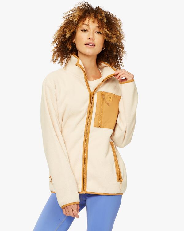 0 A/Div Switchback Tie-Dyed Fleece Zip-Up Jacket White ABJFT00151 Billabong