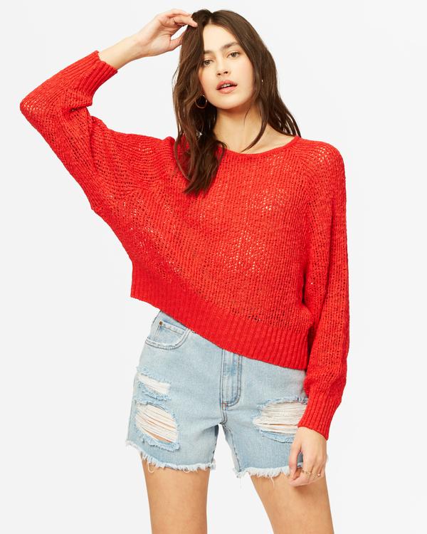 0 Sundown Relaxed Crewneck Sweater Red ABJSW00151 Billabong
