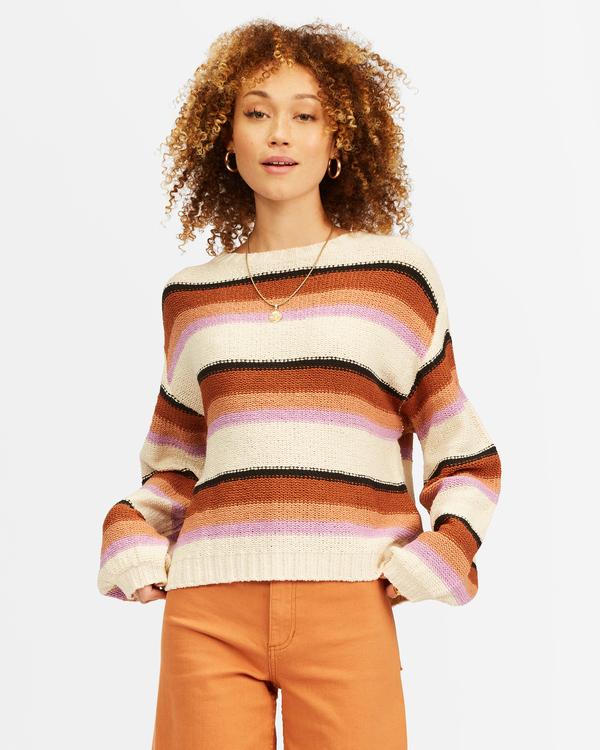 0 Seeing Double Crop Crewneck Sweater Multicolor ABJSW00152 Billabong