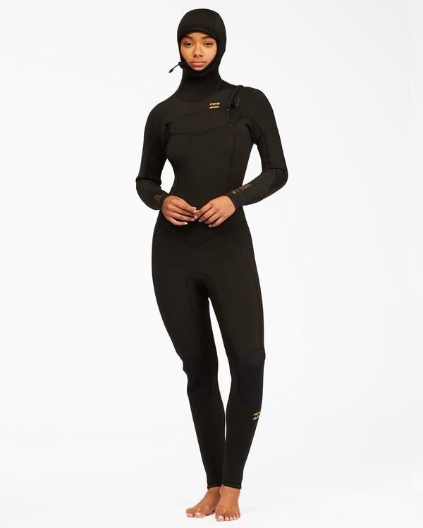 0 5/4 Synergy Hooded Chest Zip Full Wetsuit Black ABJW200100 Billabong