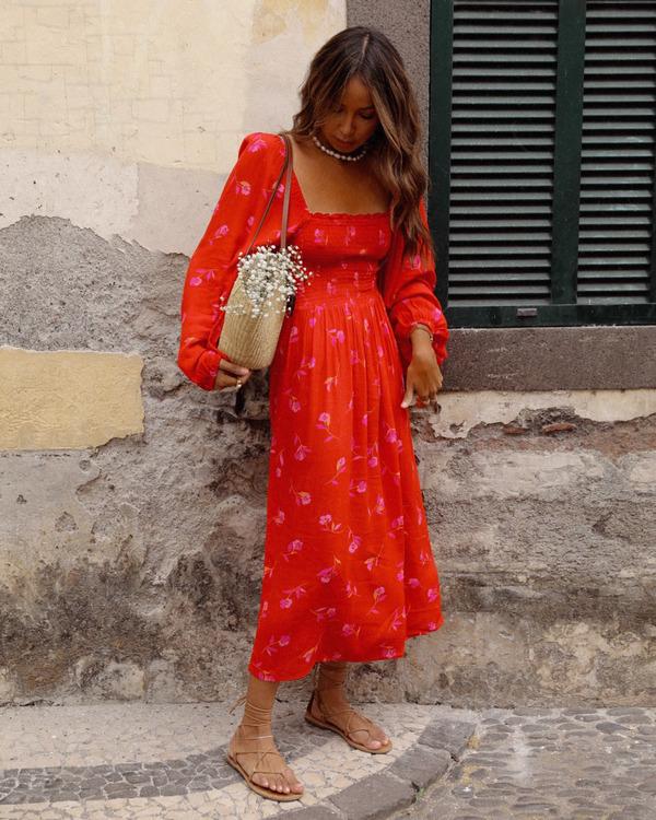 0 Best Coast Smocked Midi Dress Red ABJWD00334 Billabong