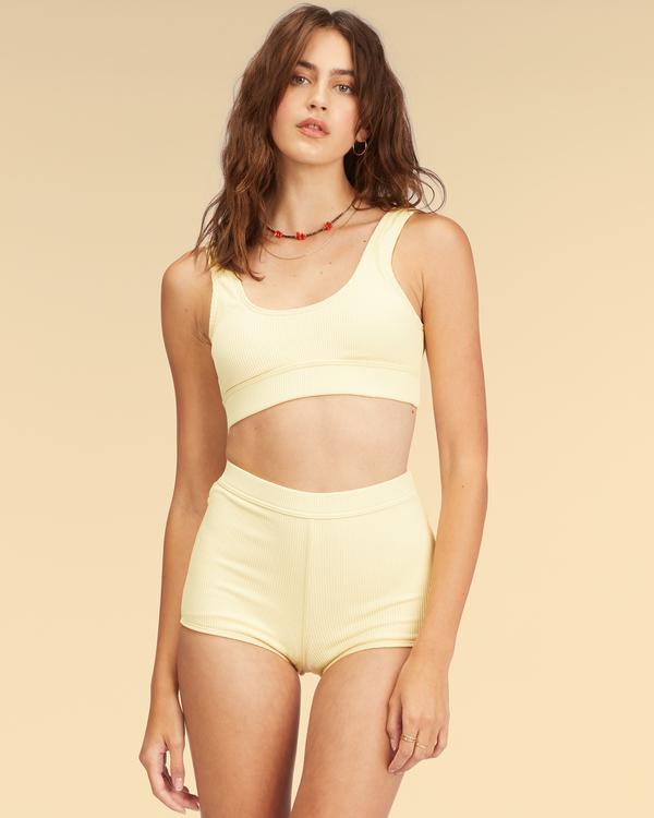 0 Wrangler Face The Sun Banded Tank Bikini Top Yellow ABJX300317 Billabong