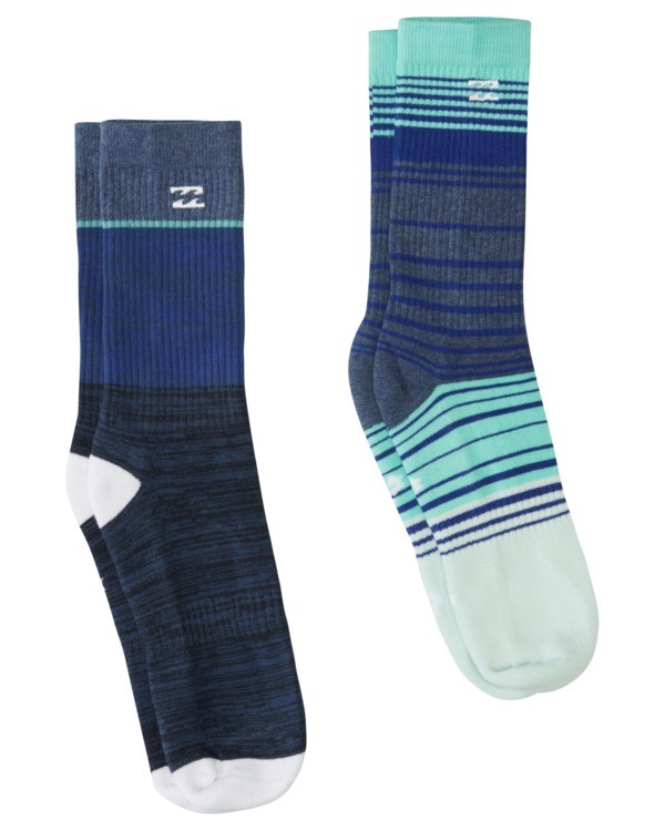 0 2 Pack All Day Stripe Crew Socks Blue ABYAA00132 Billabong