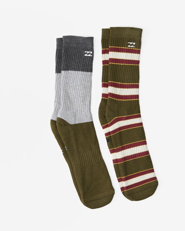 0 2-Pack Stripe Crew Socks Green ABYAA00175 Billabong