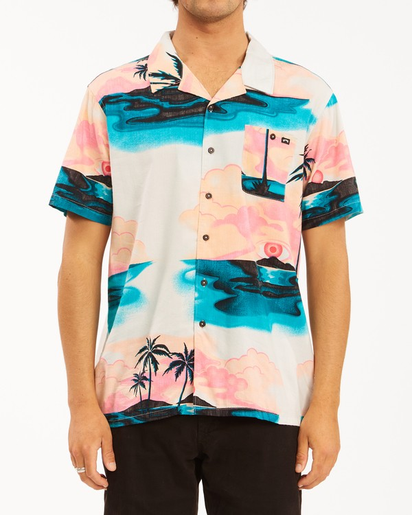 0 Sundays Vacay Short Sleeve Shirt Blue ABYWT00122 Billabong