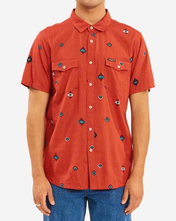 0 Wrangler Distant Land Short Sleeve Shirt Red ABYWT00139 Billabong