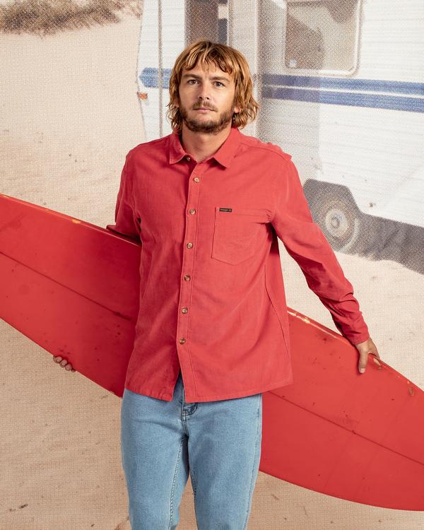 0 Wrangler Bowie Cord Long Sleeve Shirt Red ABYWT00145 Billabong