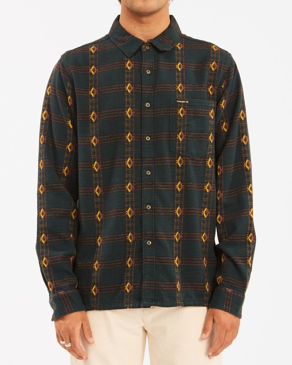 0 Wrangler Knox Jacquard Plaid Flannel Shirt Green ABYWT00147 Billabong