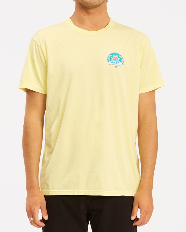 0 Sunset Wave Washed Short Sleeve T-Shirt Yellow ABYZT00623 Billabong