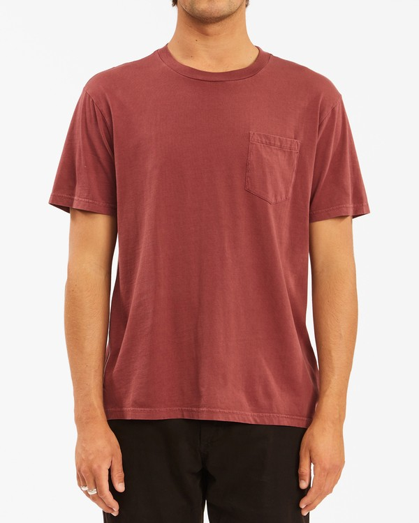 0 Essential Pocket Wave Washed T-Shirt Red ABYZT00656 Billabong