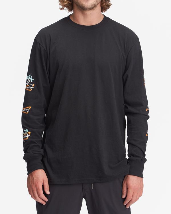 0 Budweiser Stacked Neon Long Sleeve T-Shirt Black ABYZT01022 Billabong