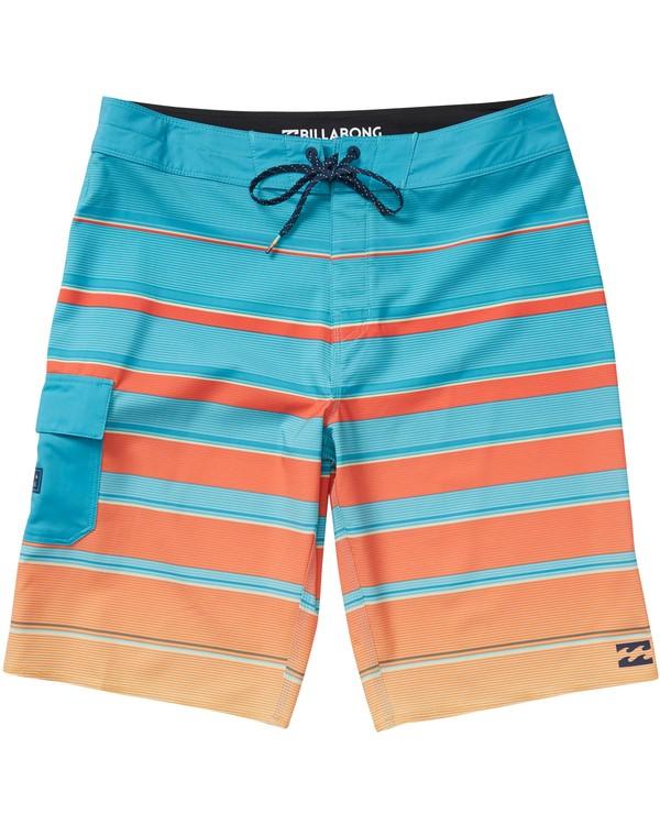 0 Boys' All Day X Stripe Boardshorts Green B125NBAS Billabong