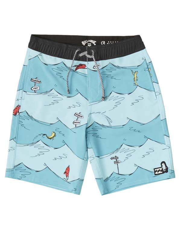0 Boys' One Fish Two Fish Layback Boardshort Blue B1973BLB Billabong