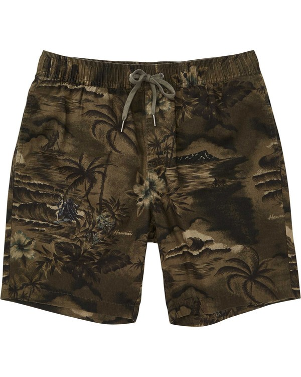 0 Boys' Larry Layback Sunday Boardshorts Green B231TBLS Billabong