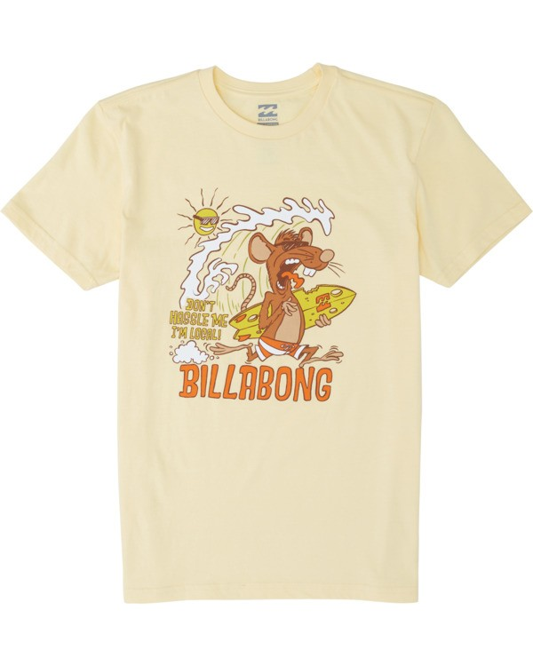 0 Boys' Rat Local Short Sleeve T-Shirt Yellow B4041BRL Billabong