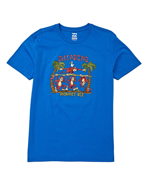 0 Boys' Monkey Biz Short Sleeve T-Shirt Blue B404WBMB Billabong