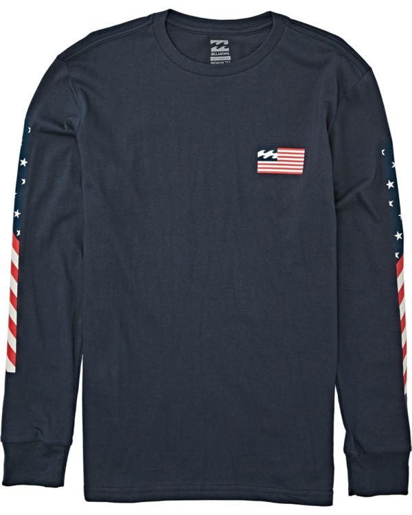 0 Boys' Americana Long Sleeve T-Shirt Blue B4052BAM Billabong