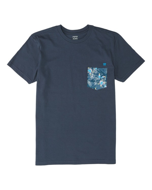 0 Boys' Team Pocket Short Sleeve T-Shirt Blue B4331BTP Billabong