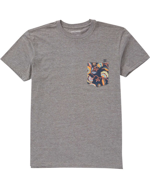 0 Boys' Team Pocket T-Shirt Grey B433TBTP Billabong