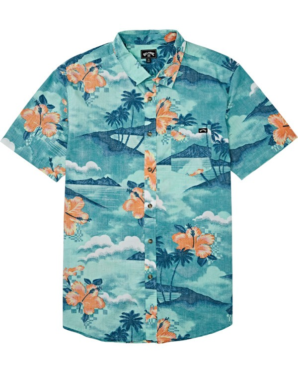 0 Boys' Sundays Floral Short Sleeve Shirt Blue B5041BSF Billabong