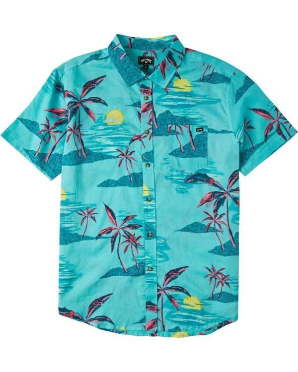 0 Boys' Sundays Floral Short Sleeve Shirt Green B5043BSF Billabong