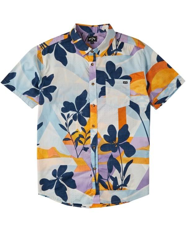 0 Boys' Sundays Floral Short Sleeve Shirt Blue B5043BSF Billabong
