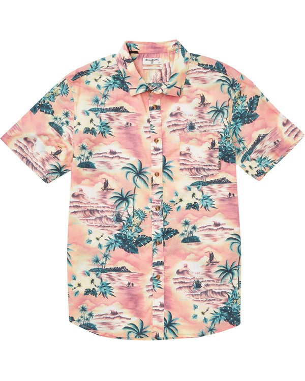 0 Boys' Sundays Floral Short Sleeve Shirt Orange B504TBSF Billabong