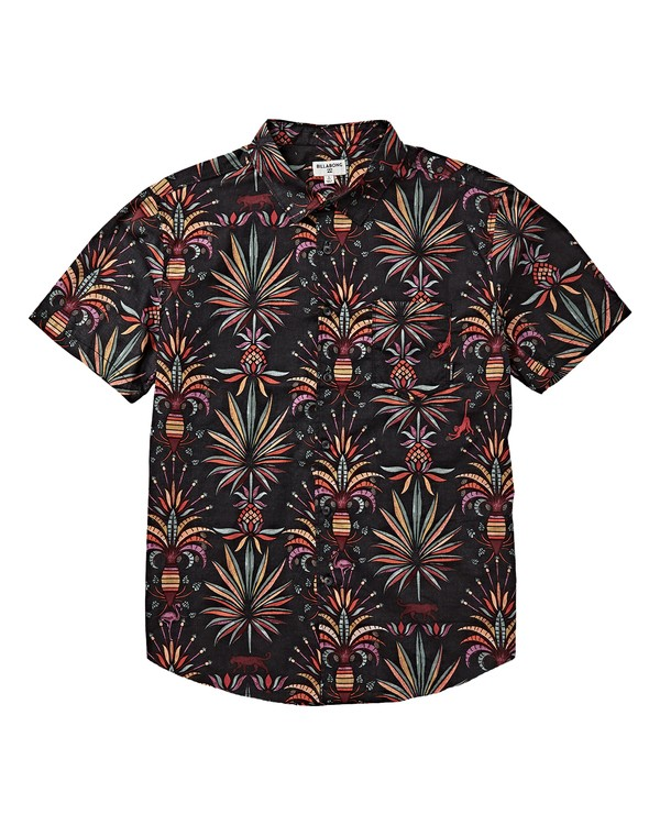 0 Boys' Sundays Floral Short Sleeve Shirt Black B504VBSF Billabong
