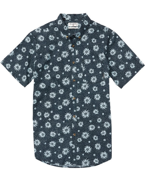 0 Boys' Sundays Mini Printed Short Sleeve Shirt Blue B505SBSM Billabong