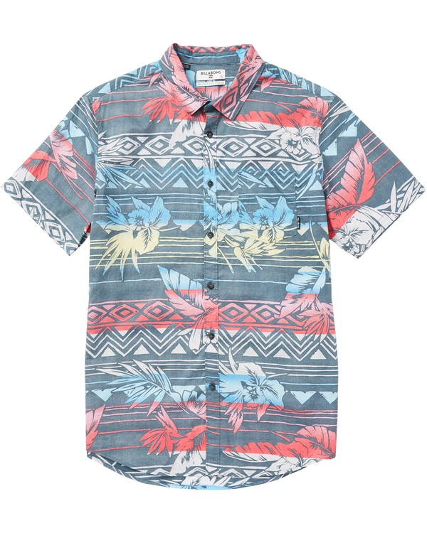 0 Boys' Sundays Floral Printed Short Sleeve Shirt Grey B506SBSF Billabong