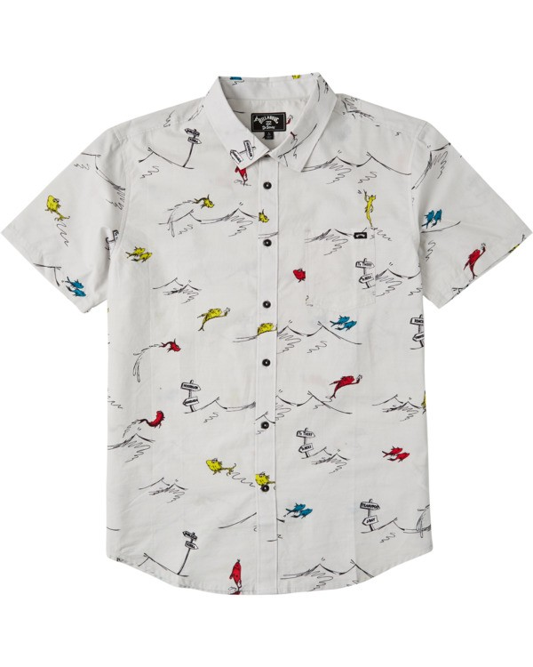 0 Boys' One Fish Two Fish Short Sleeve Shirt White B5173BOF Billabong