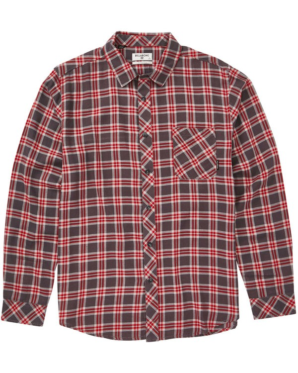0 Boys' Freemont Plaid Flannel Shirt Grey B523SBFR Billabong