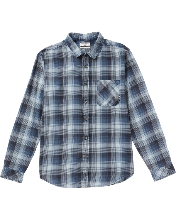 0 Boys' Freemont Plaid Flannel Shirt Blue B523SBFR Billabong