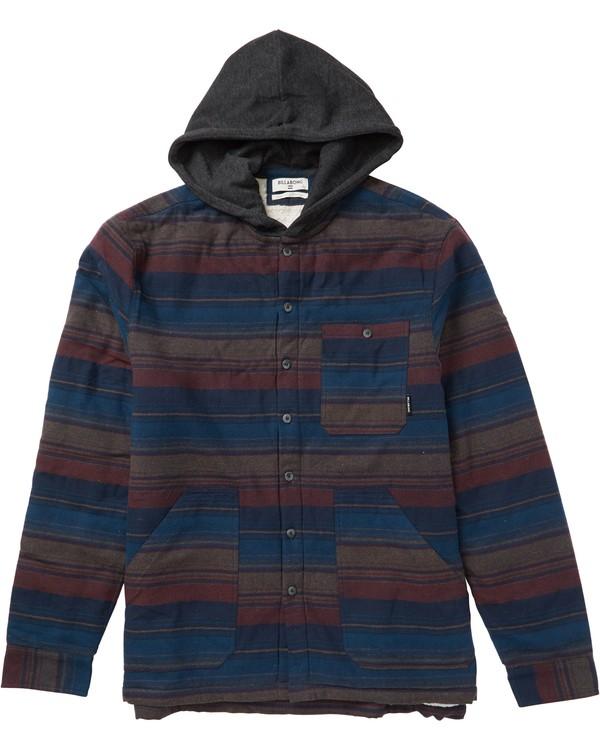 0 Boys' Baja Sherpa Hooded Flannel Shirt  B525SBBA Billabong