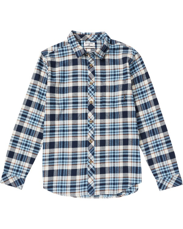 0 Boys' Coastline Plaid Flannel Shirt Blue B532SBCO Billabong