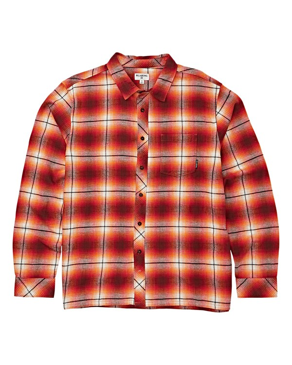 0 Boys' Coastline Long Sleeve Flannel Red B532VBCO Billabong