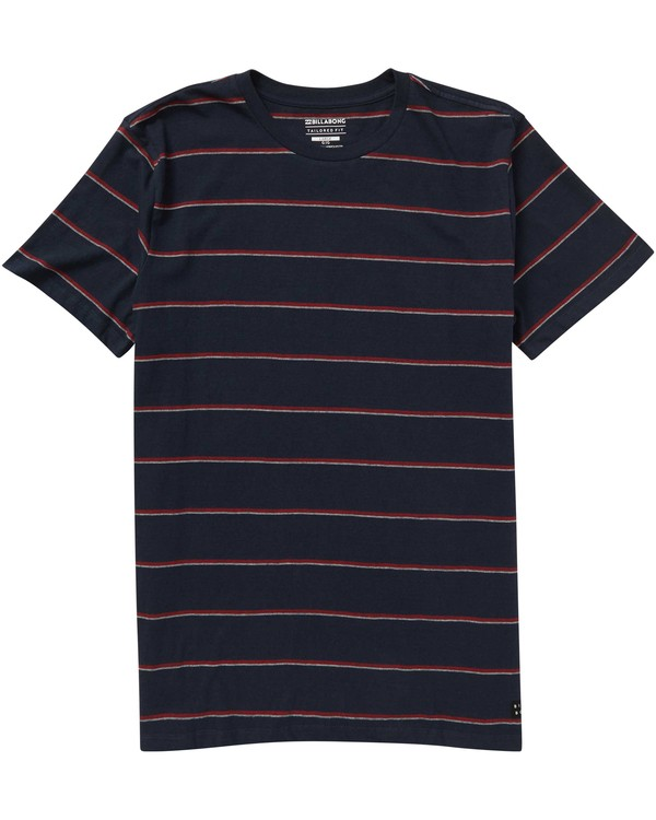 0 Boys' Die Cut Stripe Crew T-Shirt Blue B905NBDI Billabong