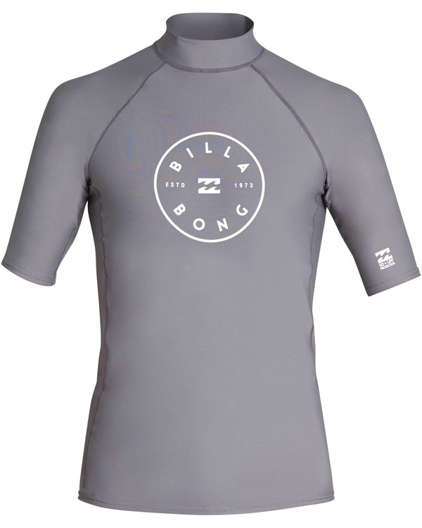 0 Boys' Rotor Performance Fit Short Sleeve Rashguard Grey BR10TBRO Billabong