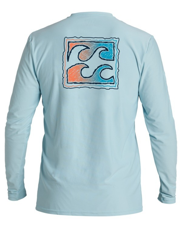 0 Boys' Crayon Wave Loose Fit Long Sleeve Rashguard Blue BR593BCW Billabong