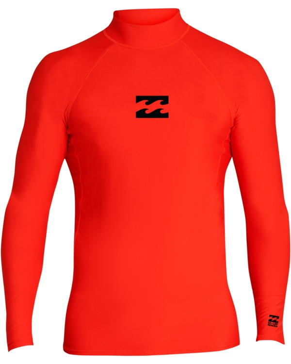 0 Boys' All Day Wave Performance Fit Long Sleeve Rashguard Red BR601BAL Billabong