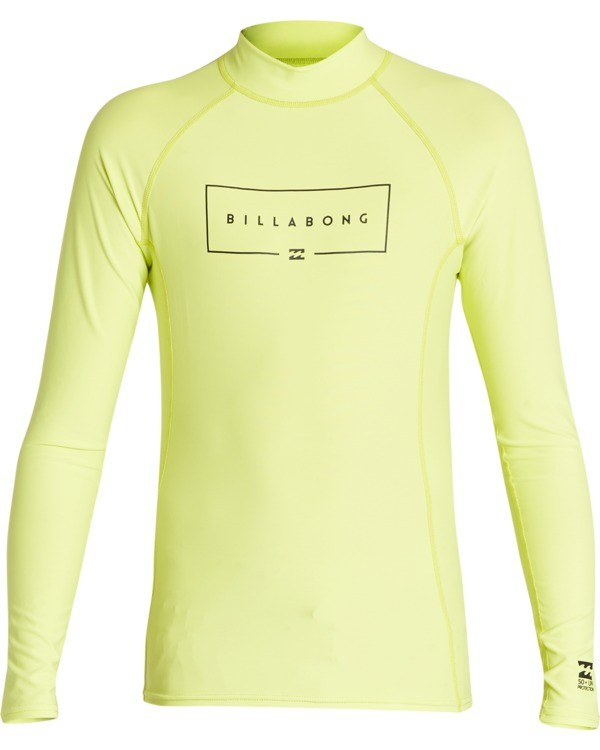 0 Boys' Union Performance Fit Long Sleeve Rashguard Green BR601BUN Billabong