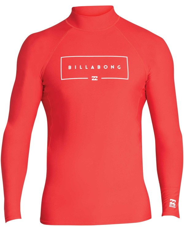 0 Boys' Union Performance Fit Long Sleeve Long Sleeve Rashguard Red BR60TBUN Billabong