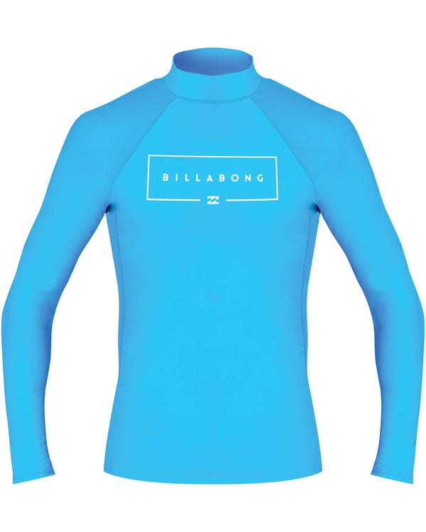 0 Boys' Union Performance Fit Long Sleeve Long Sleeve Rashguard Blue BR60TBUN Billabong